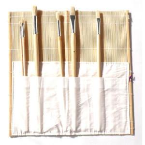 Portapinceles Bambu con bolsa, 33x33 cm.