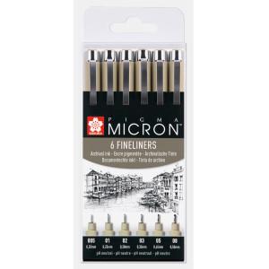 Set 6 rotuladores negros Pigma Micron Sakura (005, 01, 02, 03, 05 y 08)