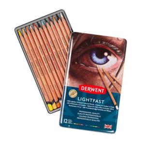 Colour pencils metal box Lightfast Derwent 12 uds.