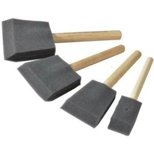 Set 4 Flat Foam Brushes, Art Creation