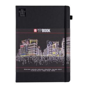 Sakura NoteBook Black Sheets, 21x29,7, elastic band, 80 s, 140 gr.