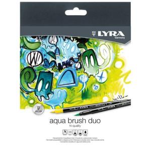 Case 24 double tip pens brush. Aqua Brush Duo, Lyra