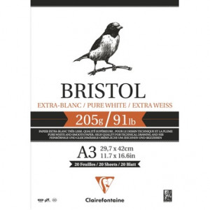 Pad Bristol Extra White A3, 205 gr., 20 h. Clairefontaine