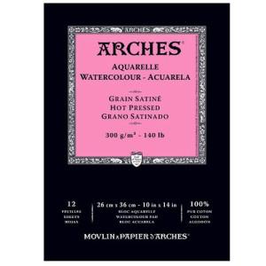Totenart-Acuarela Arches 300 gr, 26x36 cm, G. Satinado, block 12 h.