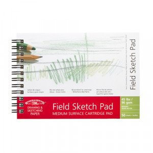 Field pad for drawing, medium grain, 96 gr, 50 s, acid free, A6, Winsor&Newton