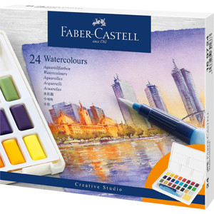 Box 24 watercolors Faber-Castell and brush