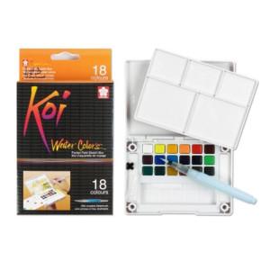 Totenart-Caja Pocket Box 18 pastillas de acuarelas Koi Sakura + pincel agua rellenable