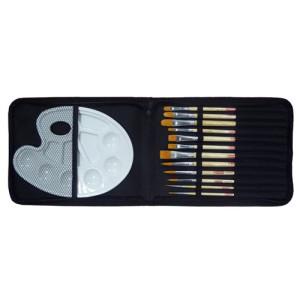 Totenart-Estuche Organizador de 12 Pinceles Cortos+ paleta plástico ArtCreation