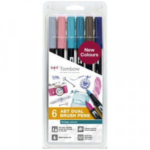 "Case 6 double tip pens brush. Colors ""Vintage"" Tombow"