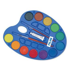 totenart-Caja paleta con 12 acuarelas 45mm., tubo blanco y 2 pinceles Milan -escolar-