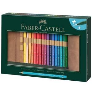 Estuche enrollable de Lápices de color acuarelables Albrecht Dürer, Faber Castell (30 colores + Pincel rellenable)
