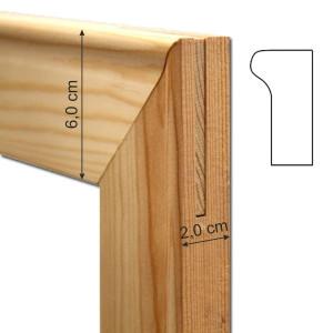 Set 2 halves wood strips 100 cm. (thickness 2 cm.) for frames