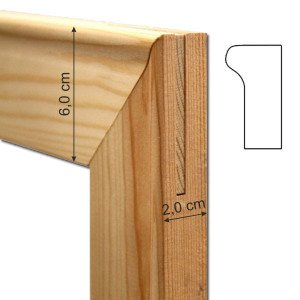 Set 2 halves wood strips 130 cm. (thickness 2 cm.) for frames