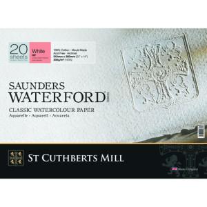 Saunders Waterford Watercolor Pad, 300 g, 51x36 cm, 20 sheets, Satin grain, Natural white