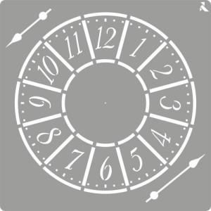 totenart-Stencil plantilla 05 Reloj 20x20cm. La Pajarita
