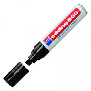 Totenart-Rotulador Permanente Edding 800 Negro 01, punta biselada 4-12 mm.