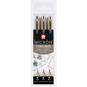 Set 3 rotuladores negros Pigma Micron Sakura (02, 04 y 08)