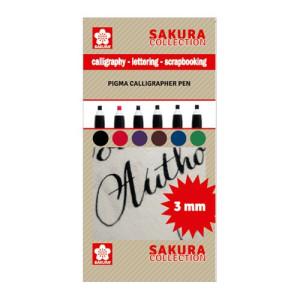 totenart-Set 6 rotuladores Pigma Calligrapher Pen 3mm Sakura