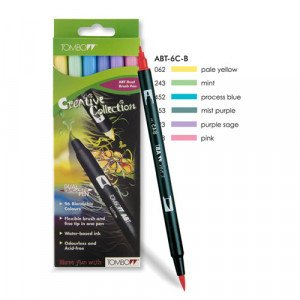 Tombow Marker, Set of 6 Pastel Colours