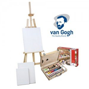Van Gogh acrylic gift set: briefcase, easel and 3 canvases