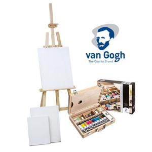 totenart-Set de regalo óleo Van Gohg: maleta, caballete y 3 lienzos