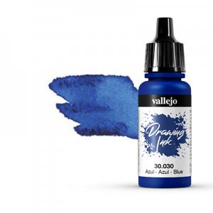 Permanent Drawing Ink, Vallejo Blue, 17 ml.