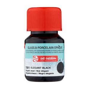 Elegant Black Glass & Porcelain Opaque Ink 7001, 30 ml. Artcreation