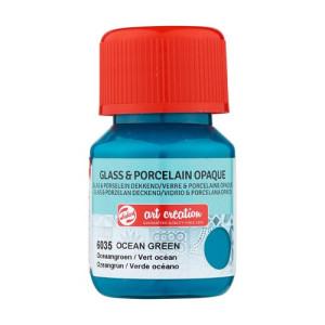 Ocean Green Glass & Porcelain Opaque Ink 6035, 30 ml. Artcreation