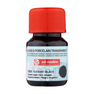 Elegant Black Glass & Porcelain Transparent Ink 7001, 30 ml. Artcreation