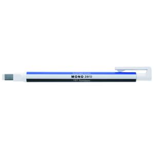 Tombow MONO ZERO Precision eraser, rectangular tip 2,5 x 5 mm. white/blue/black