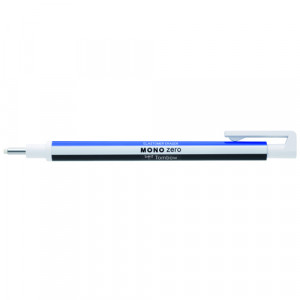 Tombow MONO ZERO Precision eraser, round tip 2.3 mm. white/blue/black