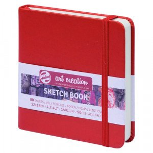 Red Sketch Block, 12x12, elastic band, 80 s, 140 gr.