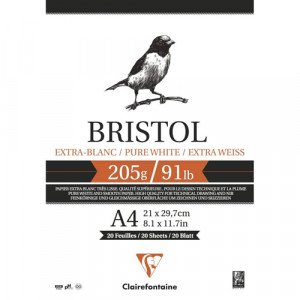 Pad Bristol Extra White A4, 205 gr., 20 h. Clairefontaine