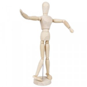 Articulated mannequin 14 cm., Natural wood