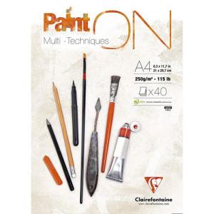 Multi Technique Pad Paint On A4, 250 gr. 40 h. Clairefontaine