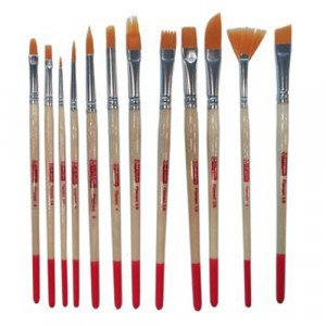 Set 12 Synthetic Brushes Short Handle, assorted, Art Creation