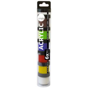 Acrylic case 6 colours (18 ml), Simply, Daler Rowney