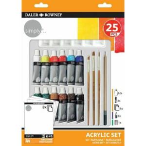 totenart-Set Acrílico 25 piezas, 12 tubos 12 ml. + complementos, Daler Rowney