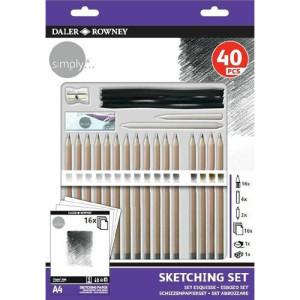 totenart-Set Esbozo 40 piezas, 16 lápices + complementos, Daler Rowney