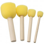 Set 4 Round Foam Brushes, Art Creation