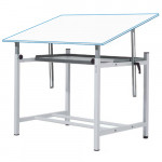 Adjustable professional drawing table with crank and tray, 100x150 cm.