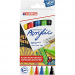 Pack 5 Edding Acrylic Markers, medium line basic tones