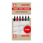 Set 6 markers Pigma Calligrapher Pen 1mm Sakura