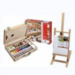Van Gogh acrylic gift set: briefcase, easel and canvas