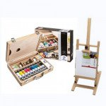 Van Gogh oil gift set: briefcase, easel and canvas