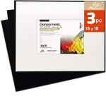 Black Canvas Panel - Special Gesso Preparation, 20x20 cm. (Set 3pcs)