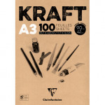 Kraft Glued Pad A3, 90 gr. 100 h. Brown Color Clairefontaine