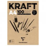 Kraft Glued Pad A4, 90 gr. 100 h. Brown Color Clairefontaine